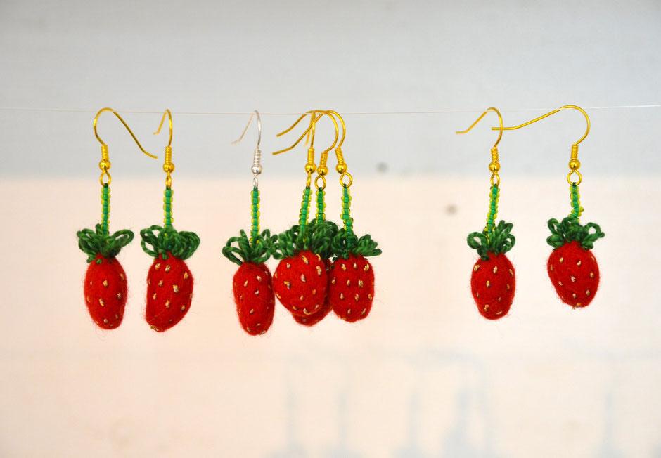 Ohrhänger Erdbeere von Faserverbund