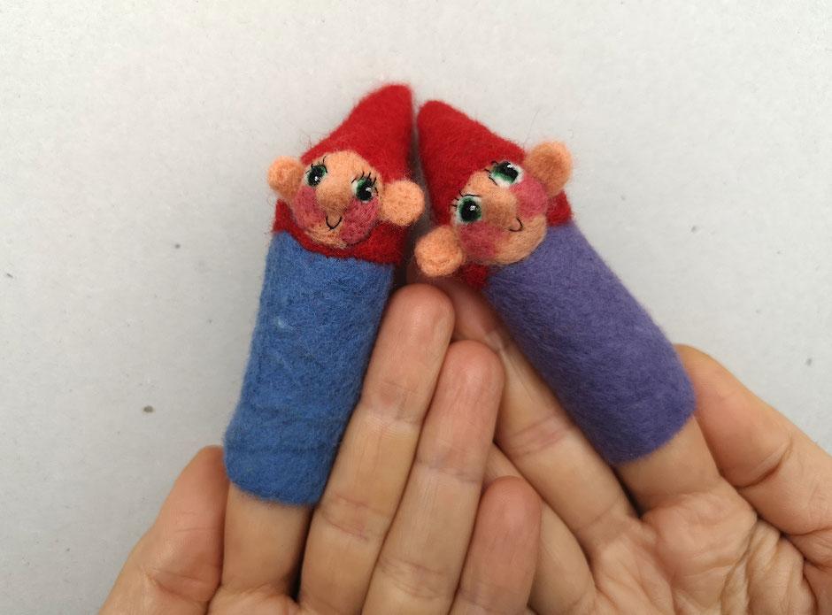 handgefilzte Fingerpuppen von Faserverbund, lila Zwerg, blauer Zwerg, 100% Wolle