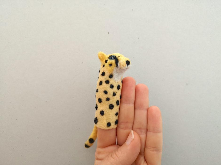 Fingerpuppe Gepard, handgefilzt aus 100% Wolle, von Faserverbund