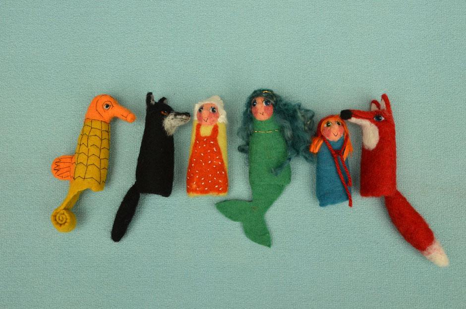 handgefilzte Fingerpuppen von Faserverbund, Seepferdchen, Wolf, Oma, Meerjungfrau, Rotkäppchen, Fuchs