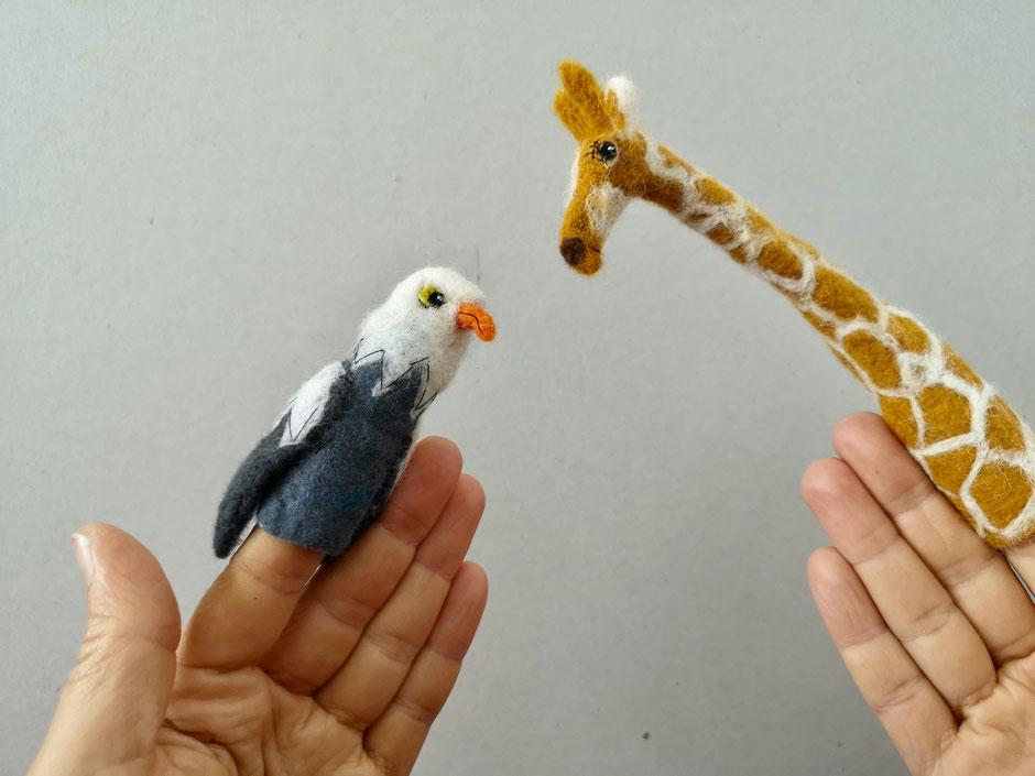 handgefilzte Fingerpuppen von Faserverbund, Seeadler, Giraffe