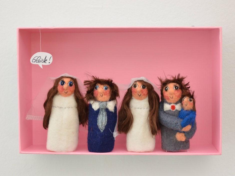 Fingerpuppen Hochzeitspaare handgefilzt aus 100% Wolle