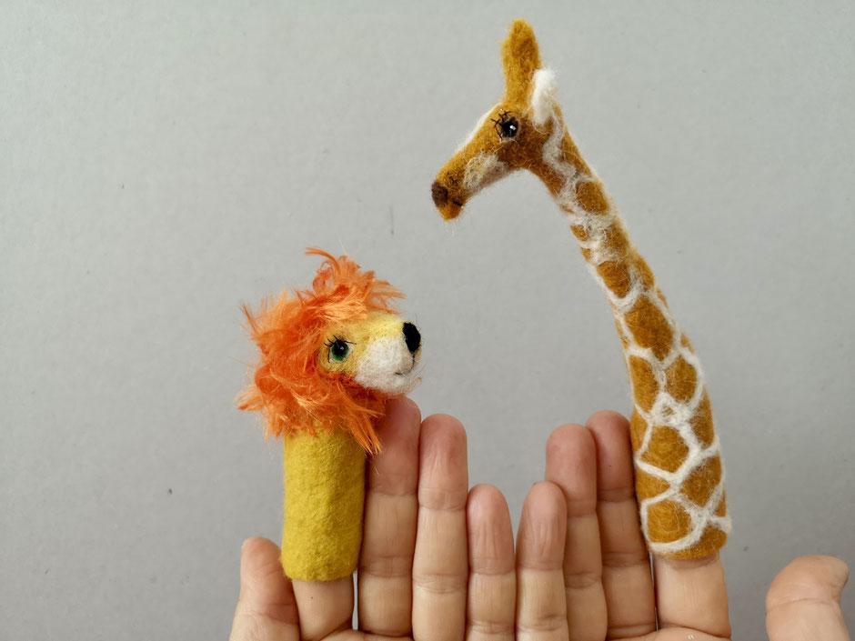 handgefilzte Fingerpuppen von Faserverbund, Löwe, Giraffe, aus Wolle