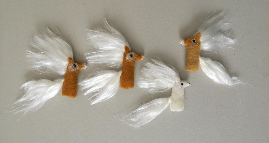 handgefilzte Fingerpuppen von Faserverbund, Haflinger Pony, 100% Wolle