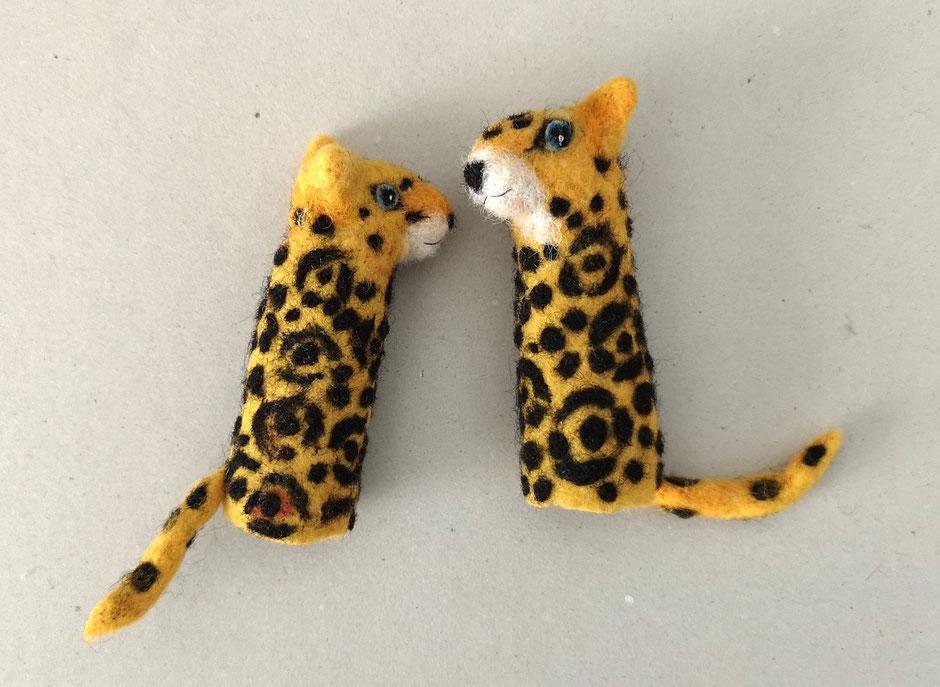 handgefilzte Fingerpuppen Jaguar aus 100% Wolle