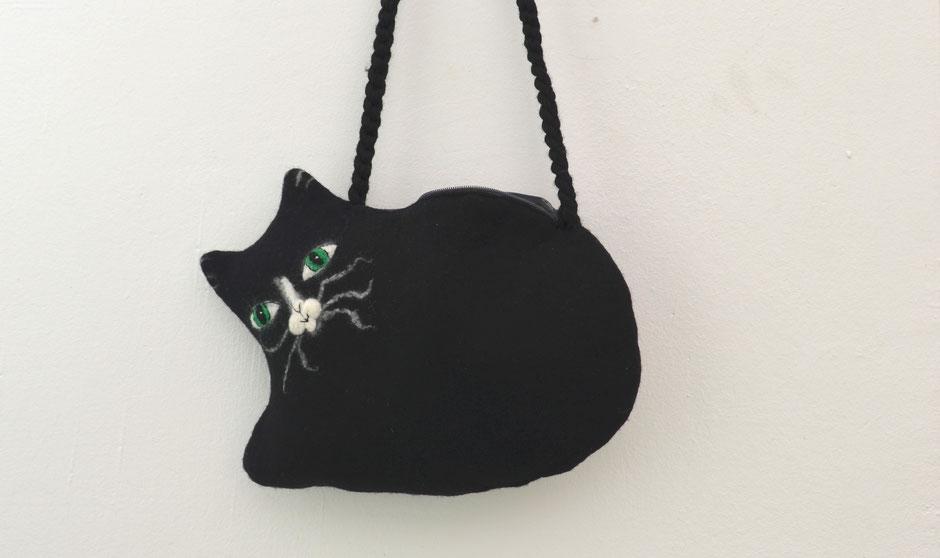 handgefilzte Umhängetasche von Faserverbund, Katze
