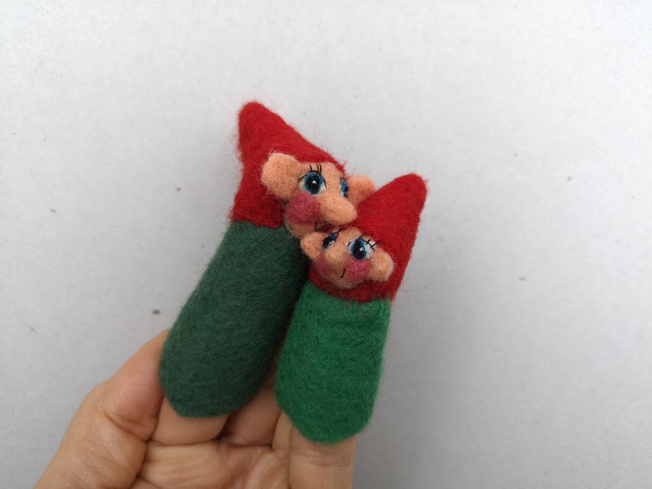 handgefilzte Fingerpuppen von Faserverbund, grüne Zwerge, 100% Wolle