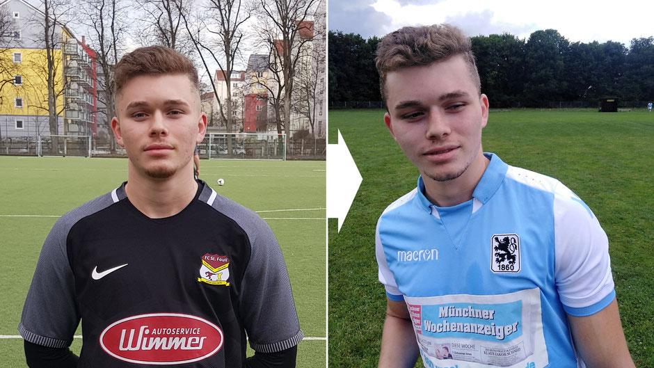Im März trug Daniel Schloemer noch das Fouli-Trikot (l.), seit Mitte Juli ist er Spieler des TSV 1860 München.