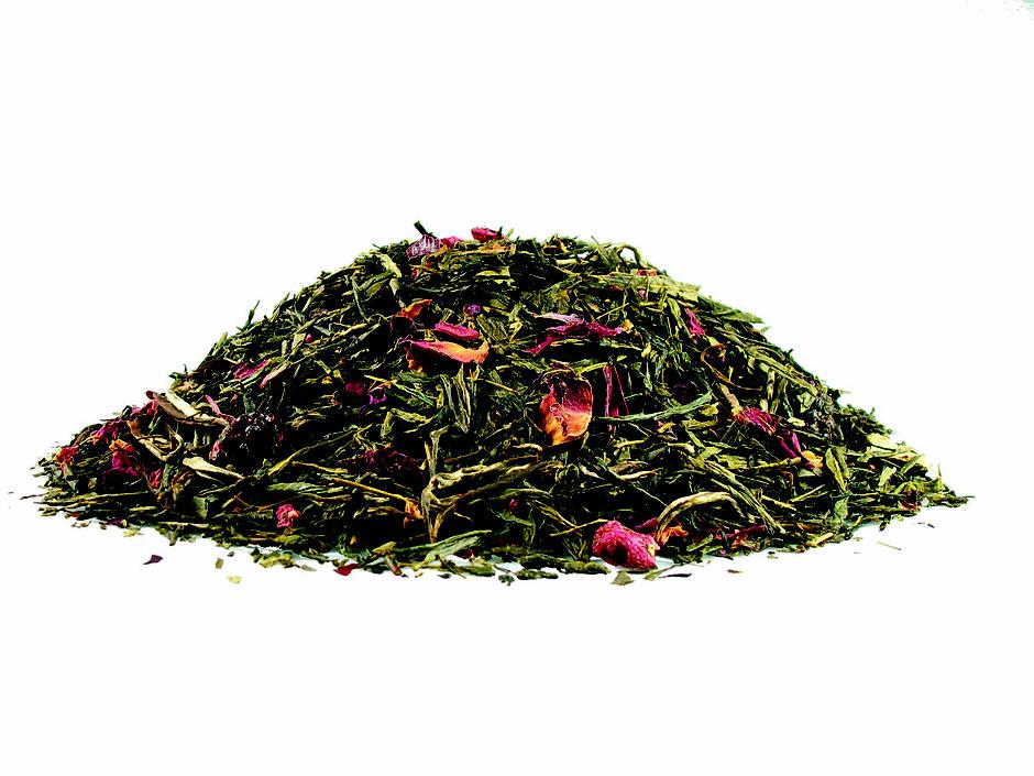 Grüner Tee / Märchenwald - mit ganzen Brombeeren und Pfingstrosenblütenblätter