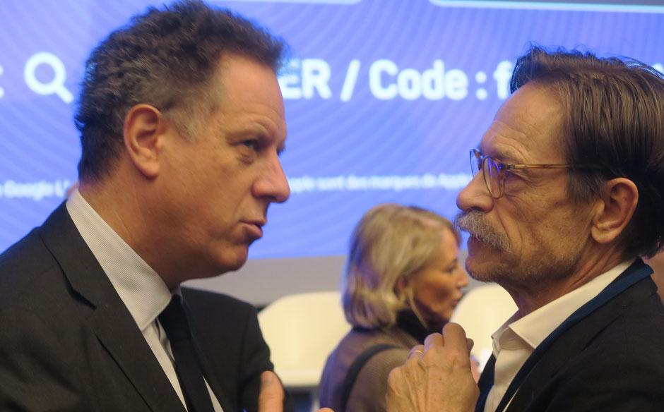 Nicolas Revel, directeur général de la CNAM et le Dr Luc Duquesnel, président du syndicat CSMF des médecins généralistes au congrès des Unions régionales des professions de santé (URPS) à la Baule, en 2018.