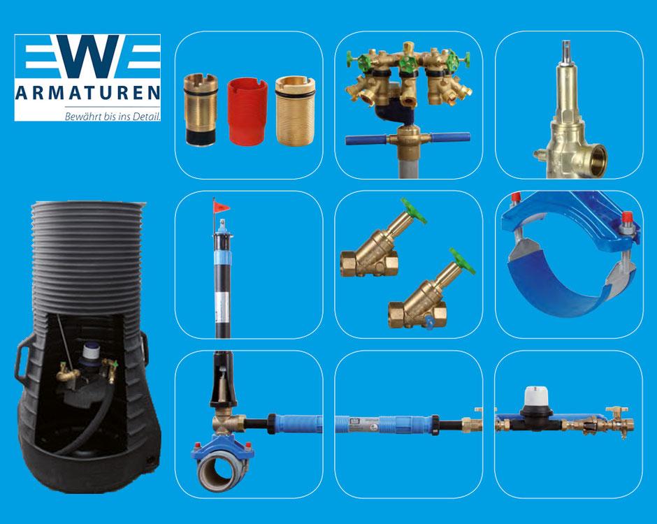 EWE, Armaturen, Wasserzähler, Brücke, Anlage, Wasserzähleranlage, Wasserzählerbrücke, Hasuanschluss, Hausanschlussbrücke, Ventilanbohrarmatur,