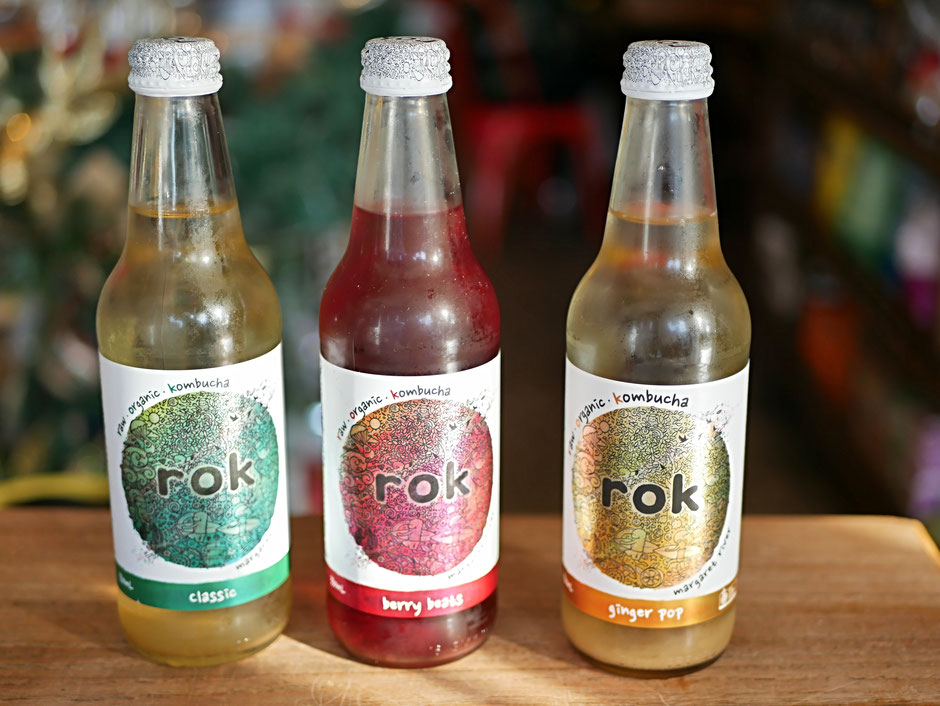 Three Organic Rok kombucha from Margaret River with different flavours (classic, berry beats and ginger pop)