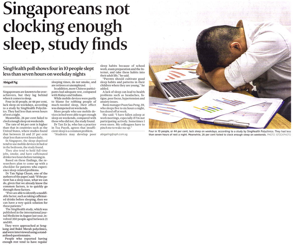 A newspaper clipping explaining that Singaporeans are not getting enough sleep