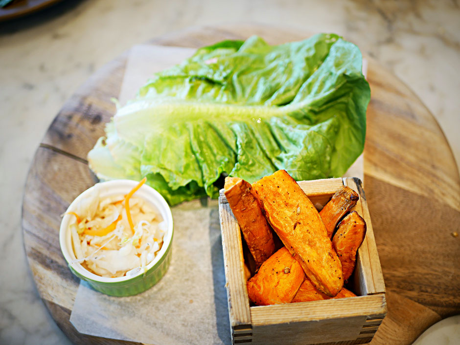 Lettuce chicken burger with sweet potato fries at The Living Cafe Singapore