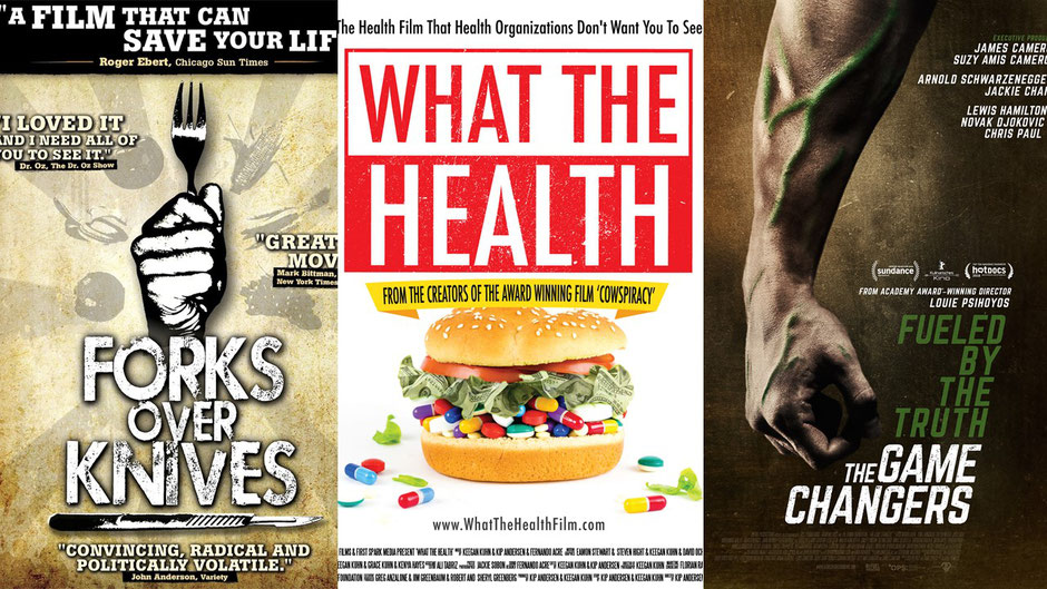 Forks over Knives, What the Health and The Game Changers - popular plant based documentaries