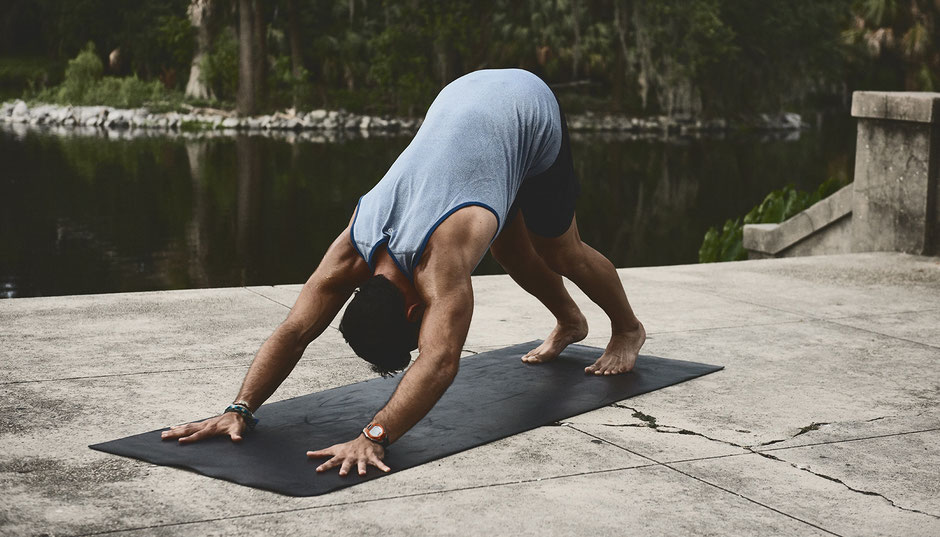 The Downward Dog is a great whole body stretch and particularly good for your feet, hamstrings and calves.