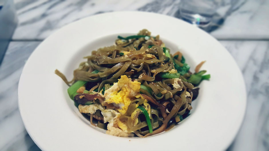 Stir fried noodles with oyster mushrooms, bak choy, beansprouts, spring onions, eggs and chilli paste at Real Food Cafe Orchard Central