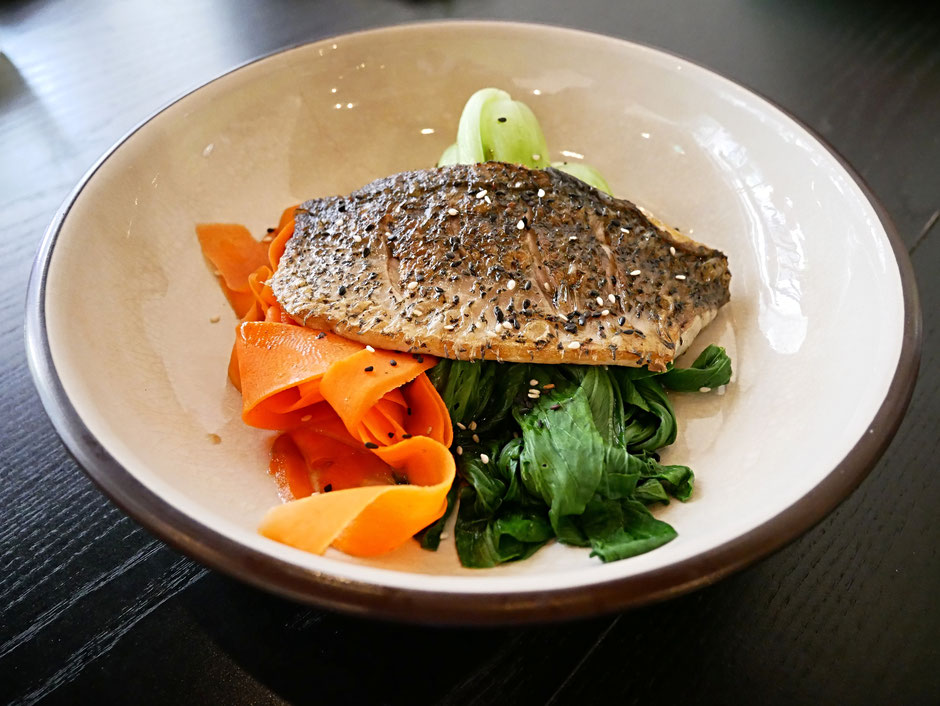 Barramundi with Asian sesame greens at Kitchen by Food Rebel