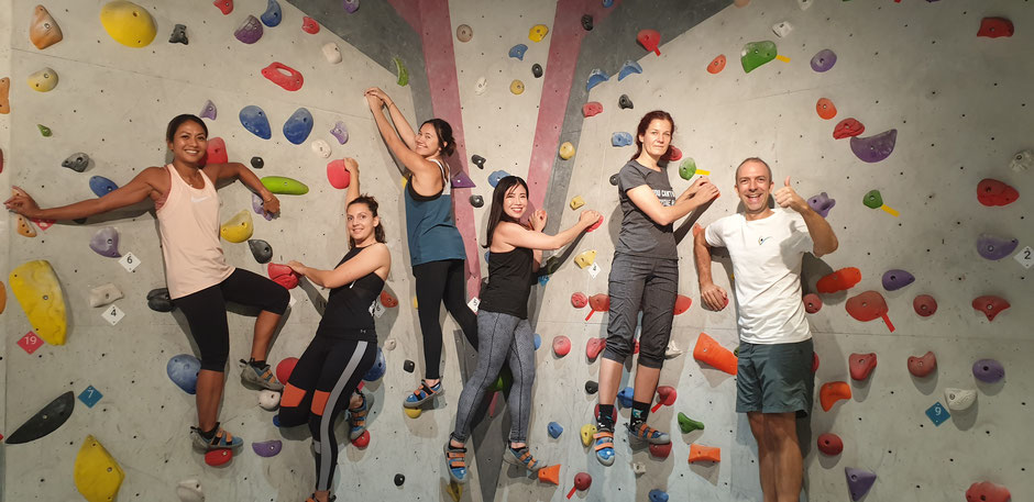 This is us taking our clients out for a bouldering session