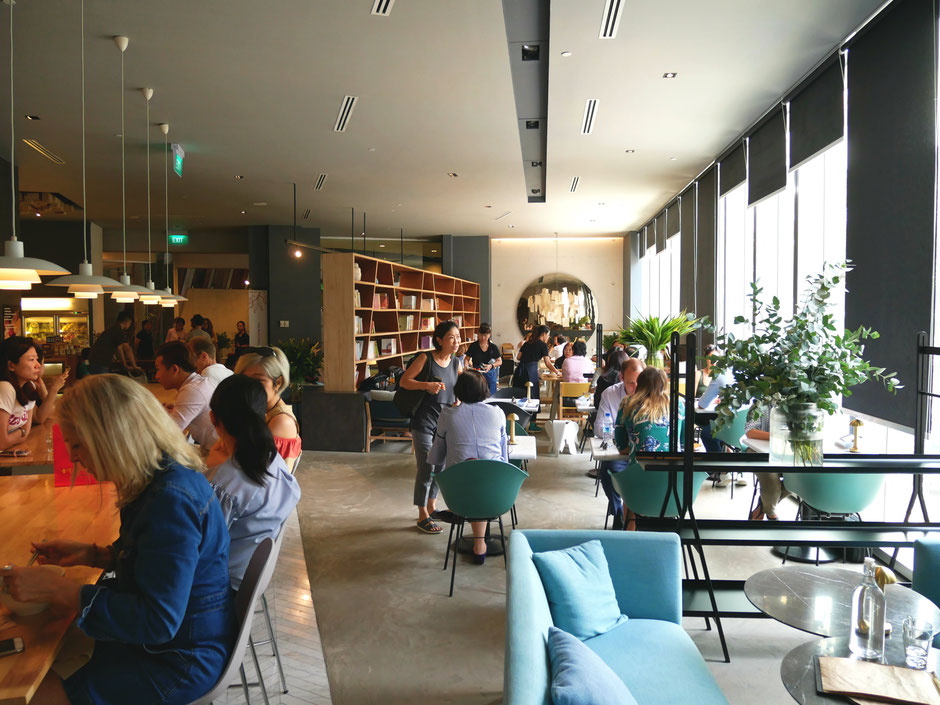 The Real Food Café Orchard Central interior overlooks Killiney Post Office