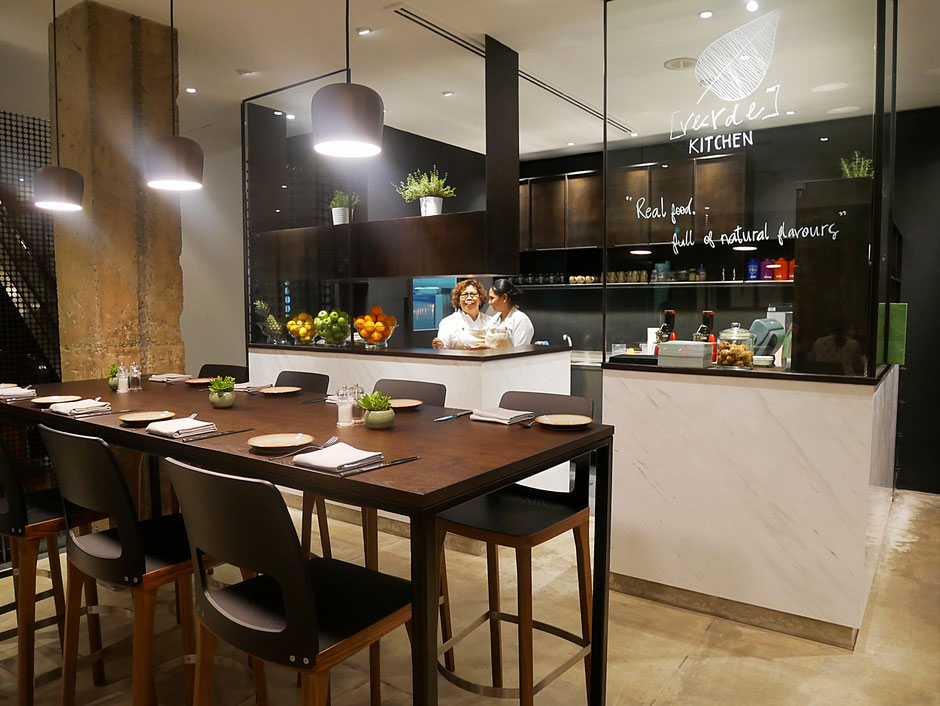 Interior of Verde Kitchen at Hilton Hotel Singapore