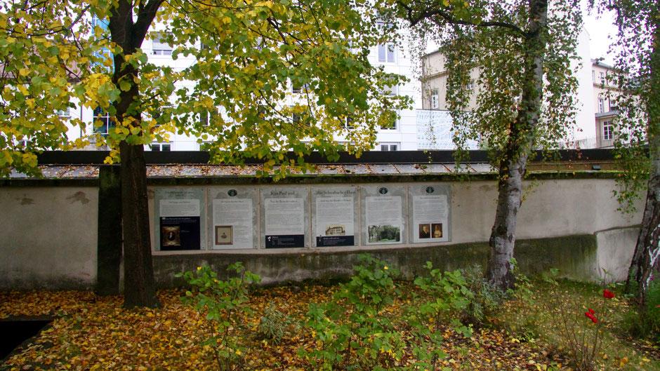 Groß- und Sonderstation 123 »Jean Paul und das Schwabacher-Haus« ganz hinten im Garten an der Mauer