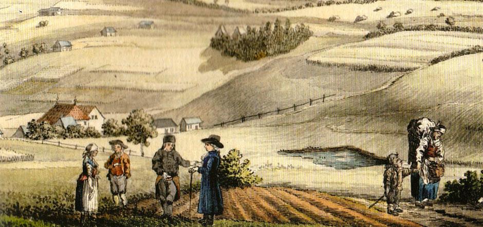 Landschaftsbild von Bischofsgrün um 1800 mit Personen im Vordergrund, gekleidet in damaliger Mode
