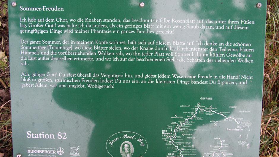 Auf dem Jean-Paul-Weg – Stationstafel 82 »Sommer-Freuden» hinter Metzlersreuth