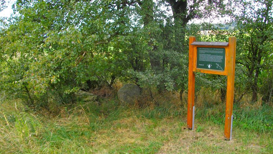 Auf dem Jean-Paul-Weg an der Stelle, wo man den toten Heinrich gefunden haben will – Stationstafel 6 »Brudergrab«