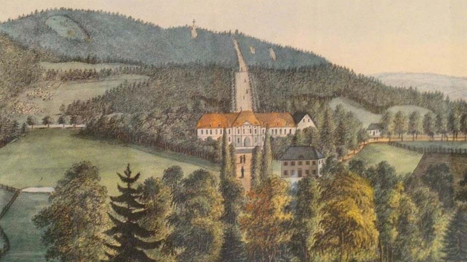 Schloss Alexandersbad um 1800 – koloriert (Jean-Paul Museum Joditz)