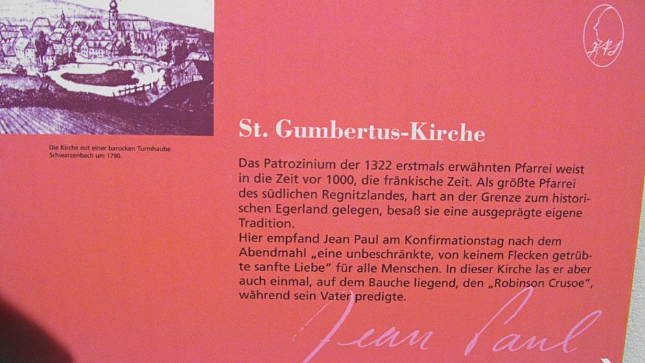 "Schwarzenbacher Jean-Paul-Rundweg, Stationstafel 3 ""St. Gumbertus-Kirche"""