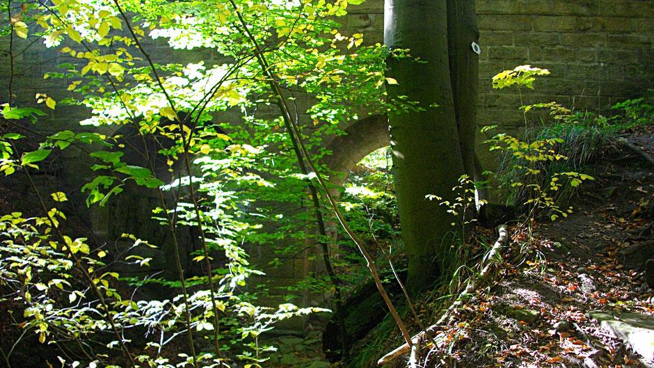 Am Westende des Teufelsloch-Weges steht die Sandsteinbrücke.