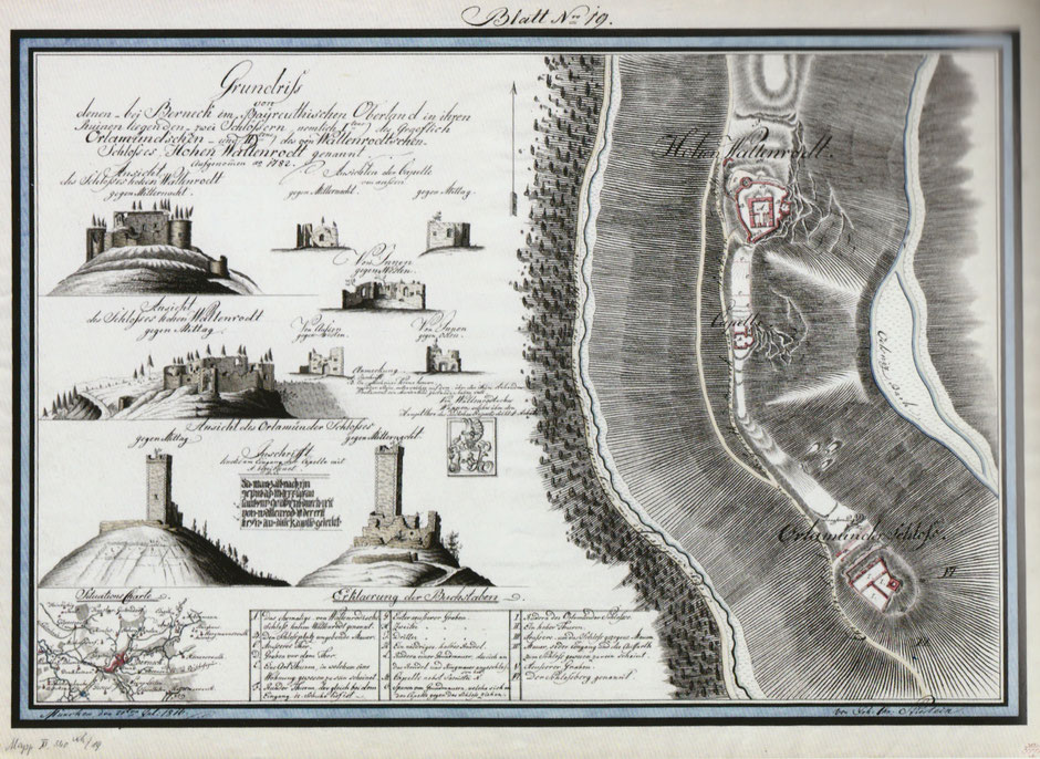 """Auf dem Jean-Paul-Weg, Bild auf der 15. Tafel """"Landschaft zu Jean Pauls Zeiten"""" im Kurpark von Bad Berneck"""