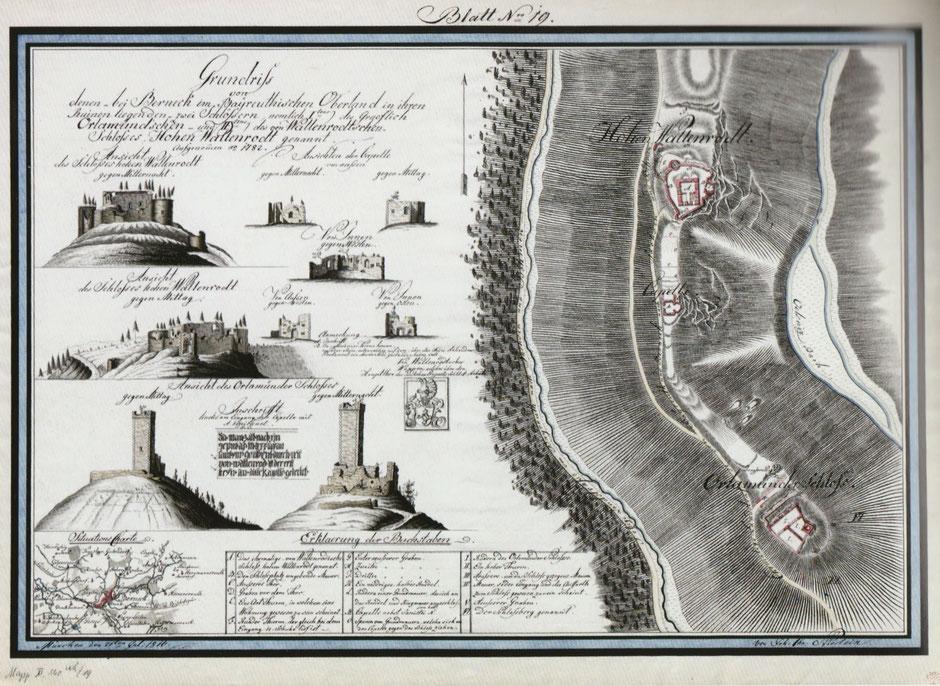 Auf dem Jean-Paul-Weg – Bild auf der 15. Tafel »Landschaft zu Jean Pauls Zeiten« im Kurpark von Bad Berneck. Die Ansichten der Burg zeigen die offenen Talhänge.