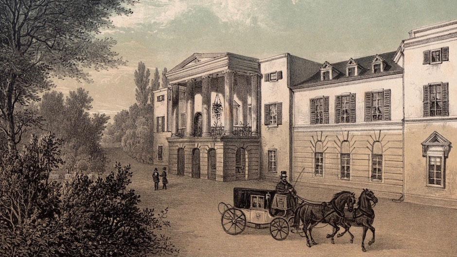 Schloss Löbichau – gezeichnet und lithographiert von Roland Weibezahl um 1845, mit freundlicher Genehmigung Museum Burg Posterstein