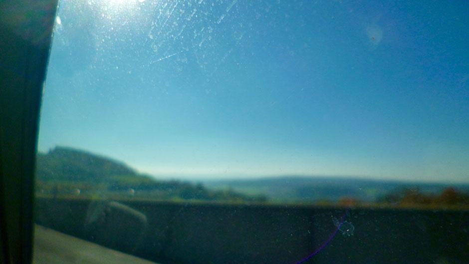 Blick vom Bindlacher Berg auf Bayreuth -aus dem Auto