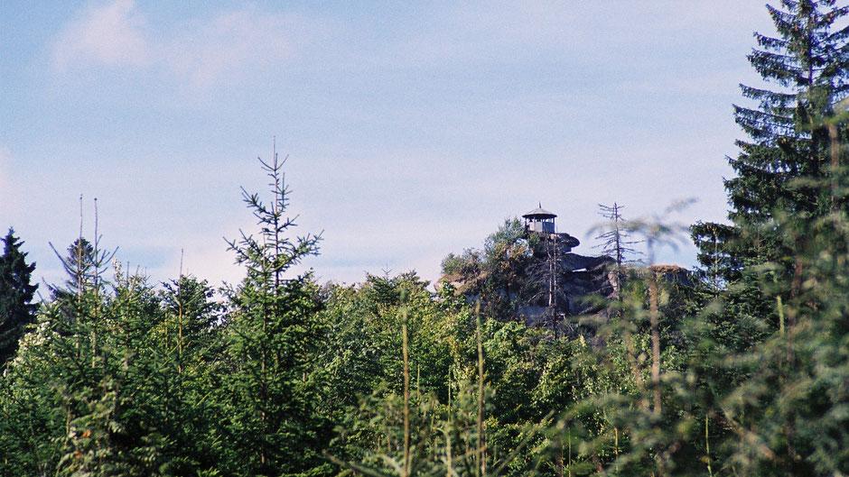 """Großer Waldstein, Pavillion auf dem Felsen """"Schüssel"""""""