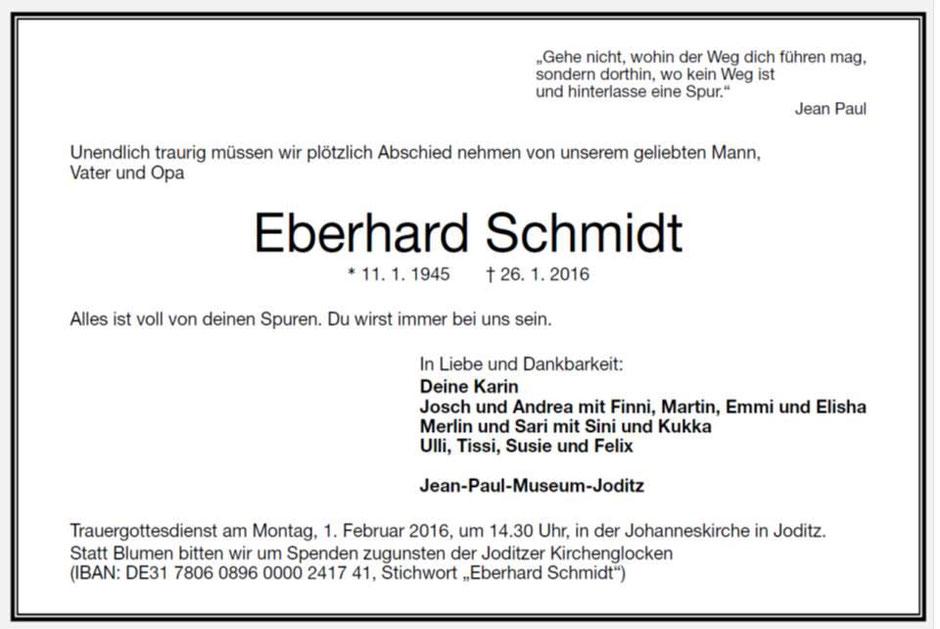 Todesanzeige Eberhard Schmidt