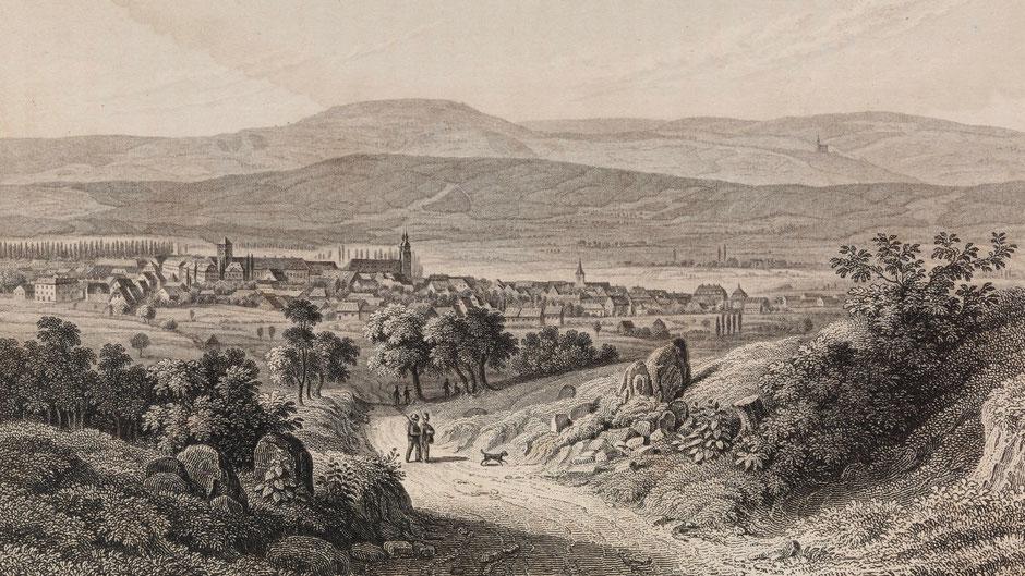 Bayreuth Mitte des 19. Jahrhundert – Zeichnung von Fritz Bamberger