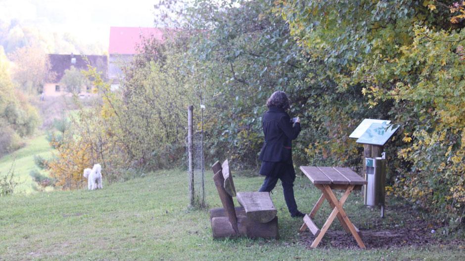 """Auf demJean-Paul-Weg,  Landschaftstafel 25 """"Romantisches Alladorf"""" und Stationstafel 152 """"Das Dorf als fränkisches Ideal"""" bei Alladorf"""