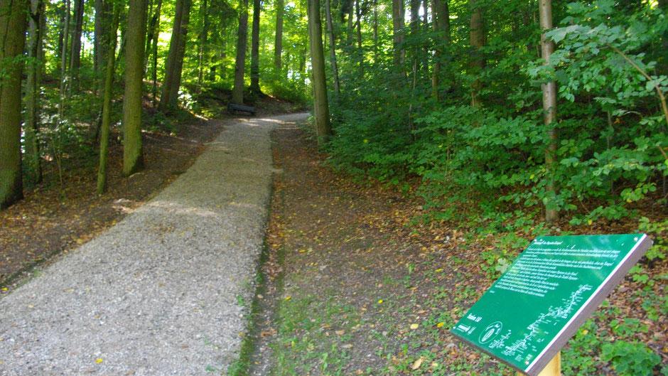 """Auf dem Jean-Paul-Weg, Stationstafel 110 """"Im Pagodentempel"""" im Park der Bayreuther Eremitage"""
