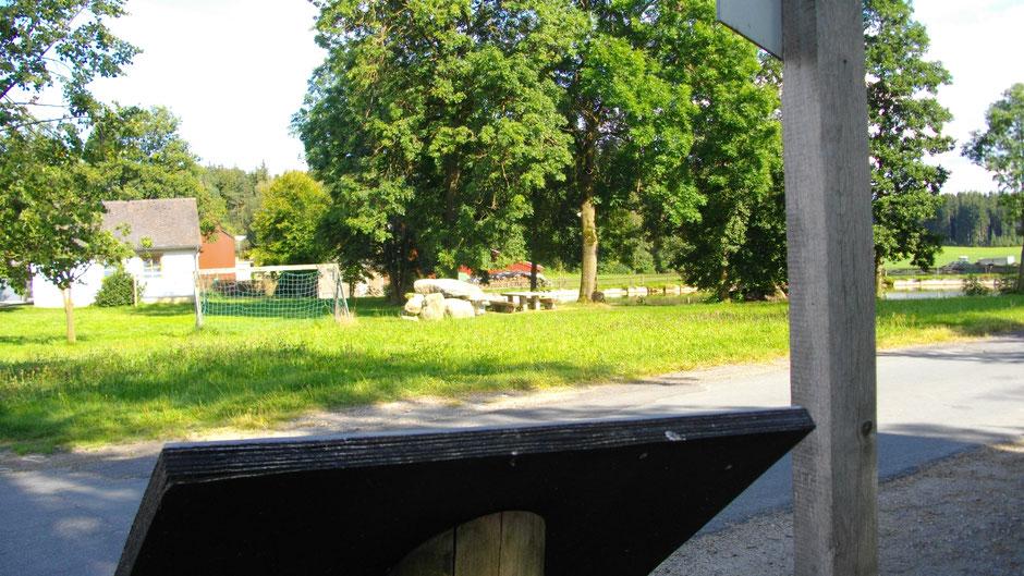 Auf dem Jean-Paul-Weg im Dorf Grub, nicht am schönen Dorfteich stehend – Stationstafel 46 »Kartoffel-Freuden«