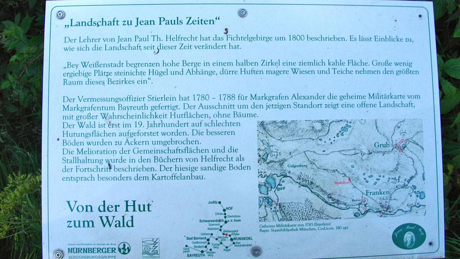 """Auf dem Jean-Paul-Weg, 3. Tafel """"Landschaft zu Jean Pauls Zeiten"""" vor dem Dorf Grub"""