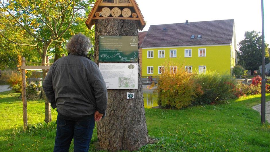 """Auf dem Jean-Paul-Weg, Landschaftstafel 27 """"Wasserarmut"""" und Stationstafel 154 """"Narrheit"""" in Kleinhül"""