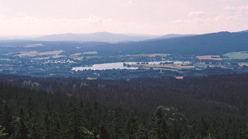 Großer Waldstein, Aussicht auf Fichtelgebirge, Weißenstadt und Weißenstädter See