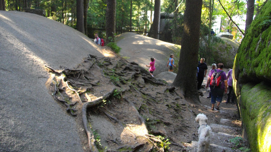 Im Felsenlabyrinth –Kinder rutschen die Felsen hinunter