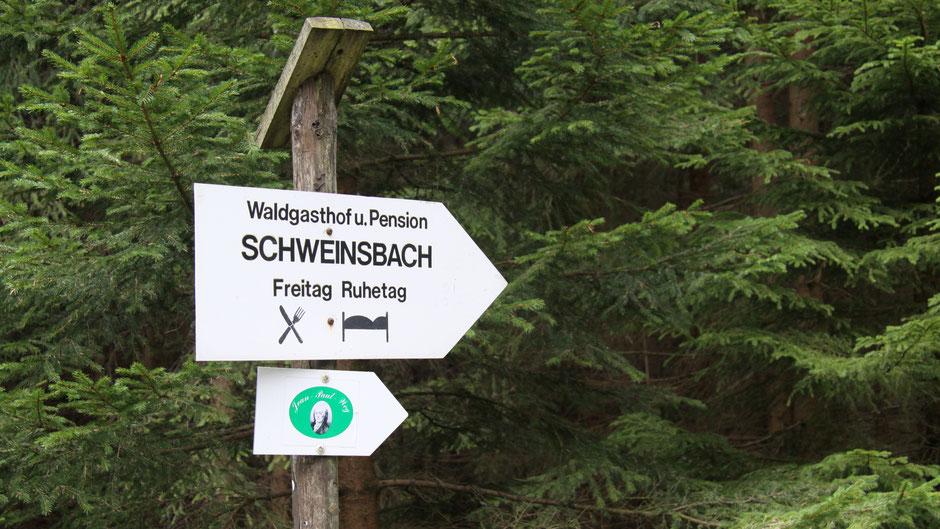 Schild Waldgasthof Schweinsbach im Bischofsgrüner Forst