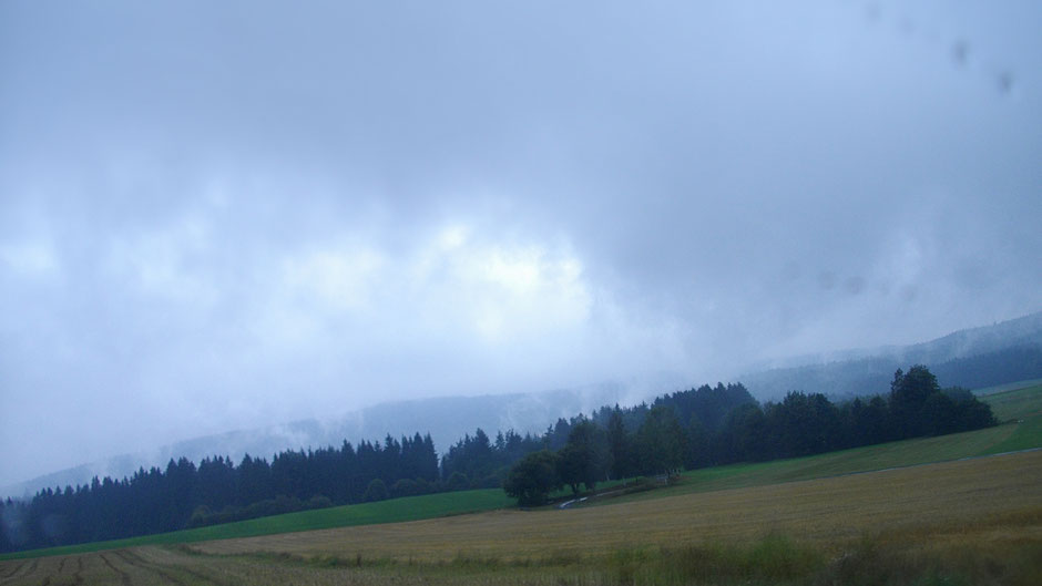 Schönstes Regenwetter auf der Fahrt nach Döhlau