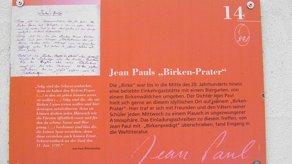 """Schwarzenbacher Jean-Paul-Rundweg, Stationstafel 14 Jean Pauls """"Birkenprater"""""""
