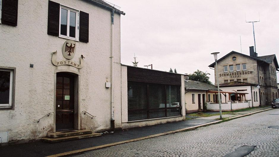 Schwarzenbach a.d. Saale, komplettes Bahnhofensemble mit ehemaligem Postamt